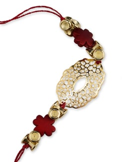 Asymmetric Red And Gold Rakhi - Cultural Concepts