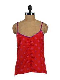 Strappy Red Floral Crop Top - NUN
