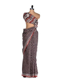 Cotton Hand Block Print Saree - Nanni Creations
