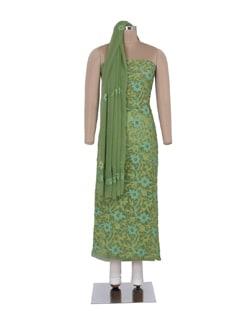 Olive Green Unstitched Chikankari Suit - Ada