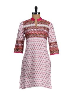 Elegant White & Pink Printed Yoke Kurta - SATTYAA