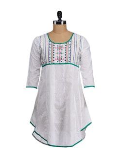 White & Green Embroidered Asymmetric Kurta - SATTYAA