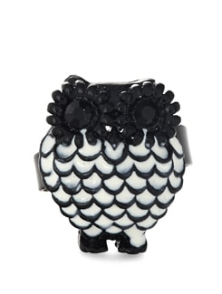 Black And White Owl Shaped Ring - ALESSIA
