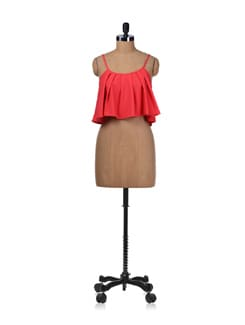 Coral Crush Fun Flare Crop Top - Miss Chase