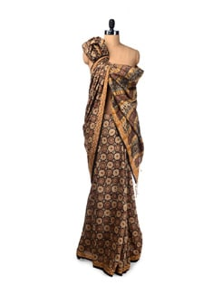 Rust-black Hand Printed Tussar Saree - Creative Bee