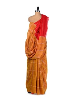 Mustard-red Hand Woven Tussar Silk Saree - Creative Bee