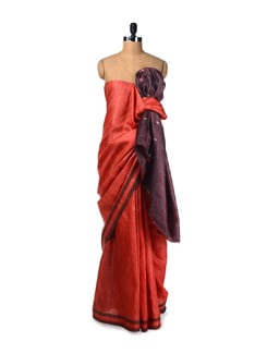 Red-orange Tussar Saree With Embroidered Pallu - Creative Bee