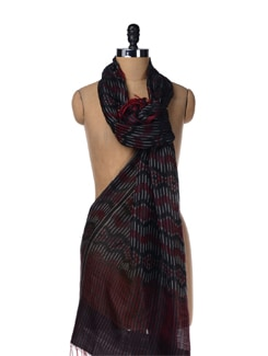 Black-red Handloom Silk Stole - Creative Bee