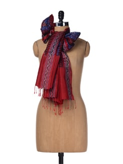 Blue-red Handloom Silk Stole - Creative Bee