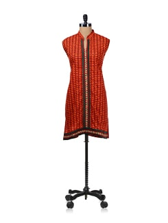 Printed Orange Lace Placket Kurta - WILD WOMAN