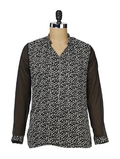 Black Zip-up Chiffon Shirt - MARTINI