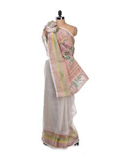 Chic Off-White Saree With Printed Pallu - Bunkar