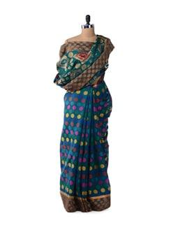 Blue Sapphire Polka Cotton Silk Saree - Bunkar