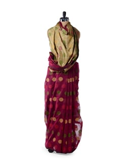 Magenta Polka Supernet Cotton Silk Saree - Bunkar