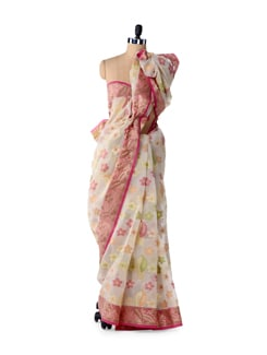 Off-White Floral Supernet Cotton Silk Saree - Bunkar