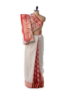 White Supernet Cotton Silk Saree - Bunkar