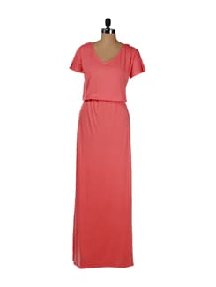 Coral Jersey Maxi Dress - Femella