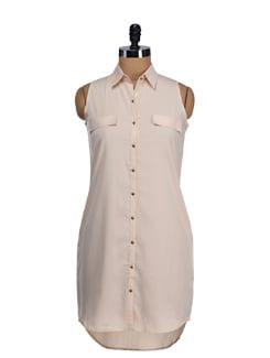 Beige Sleeveless Shirt Tunic - Femella