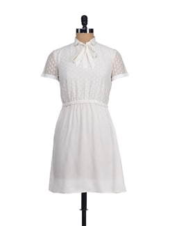 White Net Dress With Peter Pan Collar - I KNOW By Timsy & Siddhartha