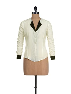 Stylish White Top With Black Lapel - I KNOW By Timsy & Siddhartha