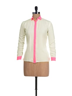 Trendy White & Neon Pink Shirt - I KNOW By Timsy & Siddhartha