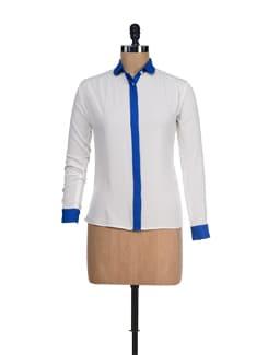 Trendy White & Blue Shirt - I KNOW By Timsy & Siddhartha