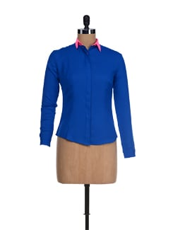 Chic Blue Shirt With Pink Collar - I KNOW By Timsy & Siddhartha