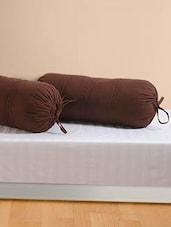 Plain Brown Bolster Covers (Set Of 2) - SWAYAM
