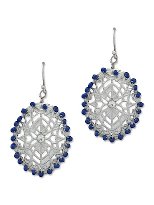 Intricate Blue & Silver Jaali drop Earrings