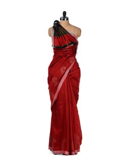 Silken Threads-red Saree - Story Of Weaves