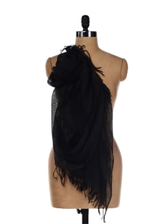 Black And Grey Woolen Scarf - Story Of Weaves