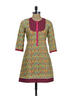 Multicolored Circle Print Kurta - VINTAGE EARTH