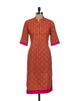 Trendy Orange Cotton Kurta - VINTAGE EARTH
