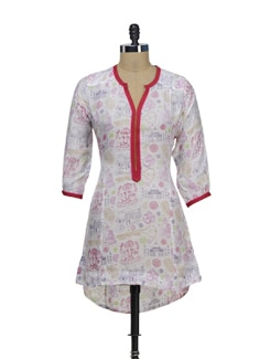 Stylish Printed White Kurta - VINTAGE EARTH