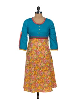 Feminine Floral Cotton Anarkali - VINTAGE EARTH