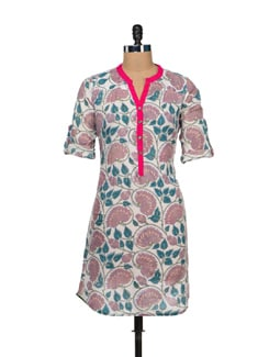 Simple Floral Print Cotton Kurti - VINTAGE EARTH