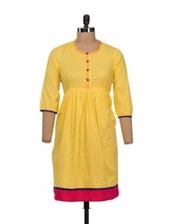 Elegant Yellow Anarkali Kurta - VINTAGE EARTH