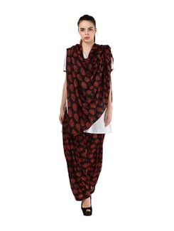 Black & Red Printed Patiala Salwar With Dupatta - MY COLORS