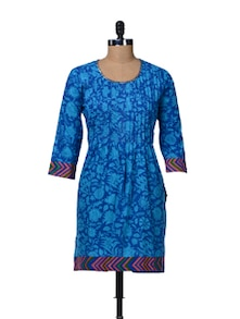 Cotton Blue Printed Kurta - TEEJ