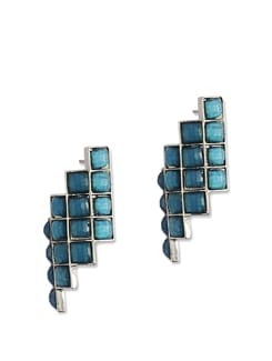 Tuquoise Blue Stone Stripe Earings - Addons