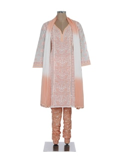 Elegant Peach & White Chikankari Suit - Ada