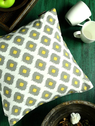 Yellow Ikat Diamond Cushion Cover