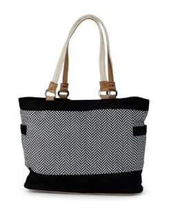 Black & White Cross Printed Tote Bag - SUNNY ACCESSORY