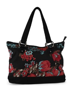 Black Floral Medium Shopper Bag - SUNNY ACCESSORY