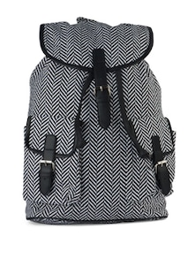 Black & White Cross Printed Backpack - SUNNY ACCESSORY