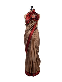 Beige & Red Traditional Woven Silk Saree - Design Oasis By Manish Saksena