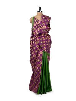 Green & Purple Cotton Silk Brocade Saree - Design Oasis By Manish Saksena