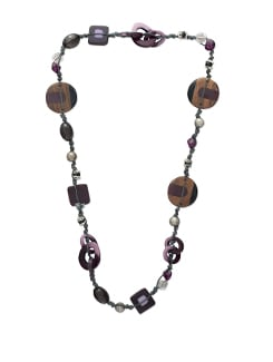 Purple Beaded Thread Necklace - ALESSIA