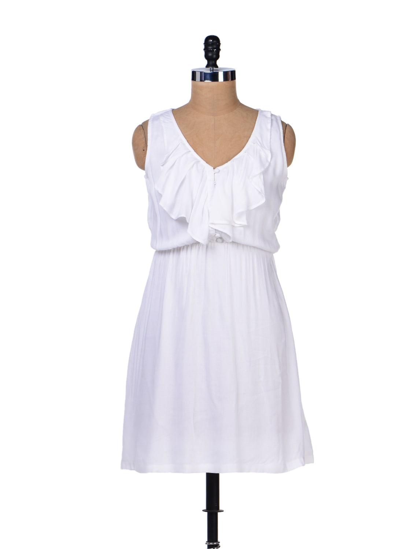 White Ruffle Dress - Femella