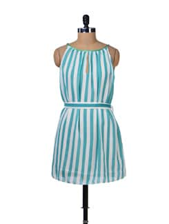 Blue And White Stripes Dress - Tops And Tunics